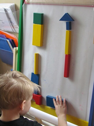 Sticky blocks activity, great block activities for preschool kids