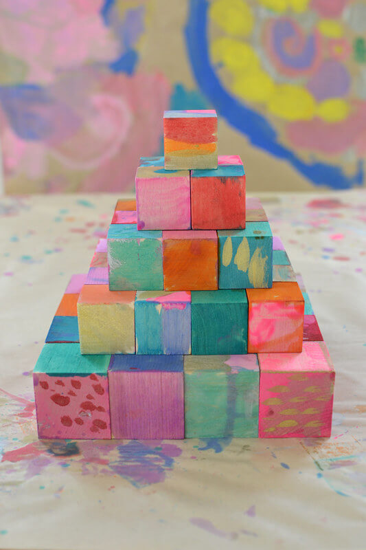Special painted blocks, great block activities for preschool kids