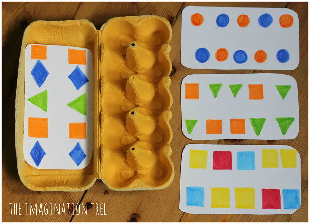 Egg box maths activity, great block activities for preschool kids