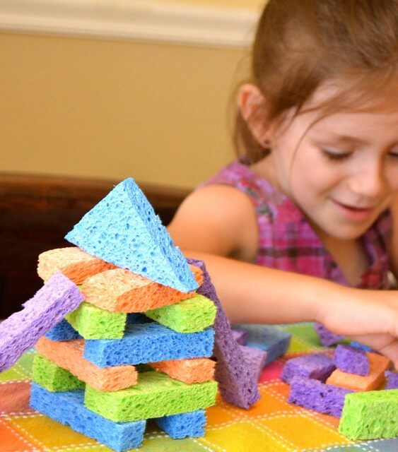 Sponge blocks, great block activities for preschool kids