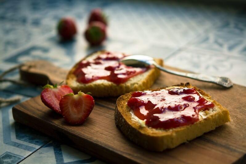Strawberry Rhubarb Jam on Toast