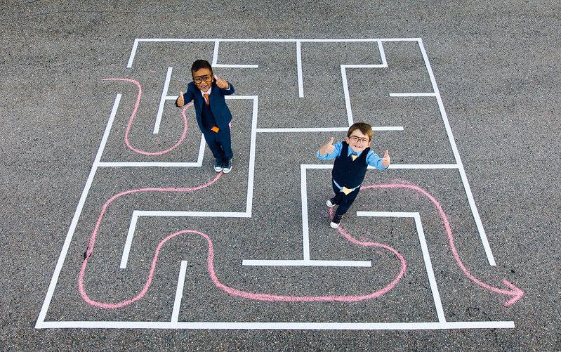 Children participating in maze activities