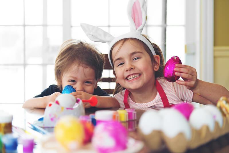 Kids enjoying Easter holiday jokes