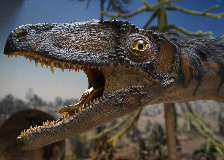 Dinosaur with its mouth open.