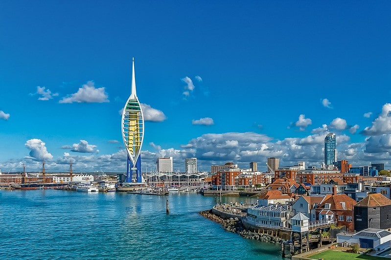 View of the Portsmouth coastline with the Spinnaker Tower as a main focal point.