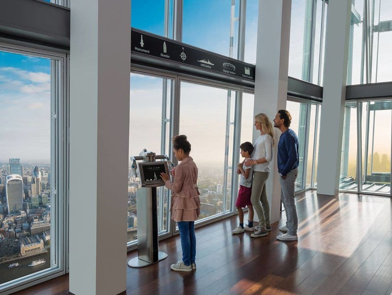 Family looking out the window and enjoying The View from The Shard.