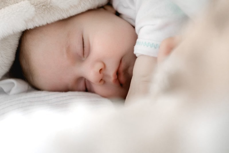 Newborn baby sweetly sleeping under a blanket.