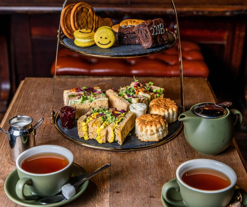 An afternoon tea at the Sherlock escape rooms.