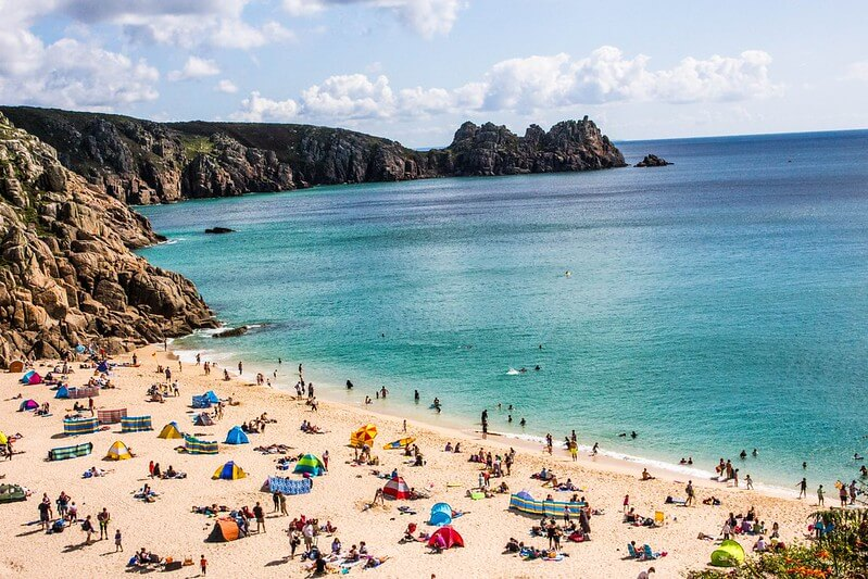 sunny beach in Cornwall with families