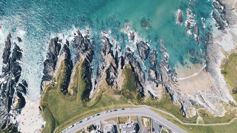 birdseye view of cliffs at a Devon beach