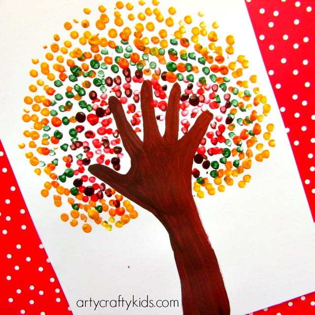Autumn tree harvest activities and crafts