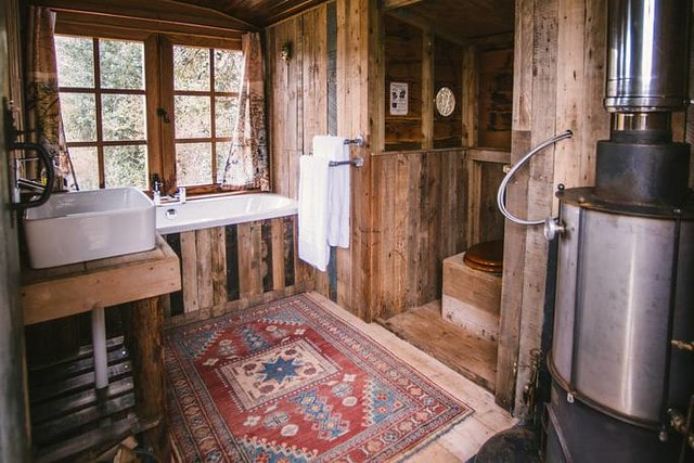 Interior of the treehouse at The Wood Life in Kenn in Dorset