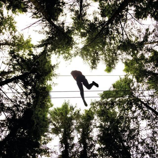 below shot of person on high ropes course between trees