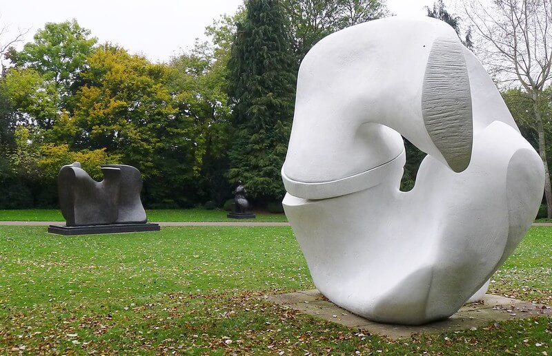 henry moore sculptures in a garden