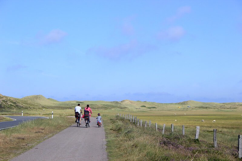 family cycling in the distance on country path