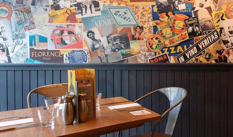 Interior of La Favorita, a child-friendly restaurant in Edinburgh