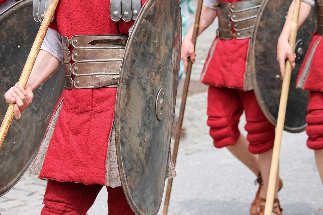 Men in Roman Armour At Roman Reenactment with Shields and Spears