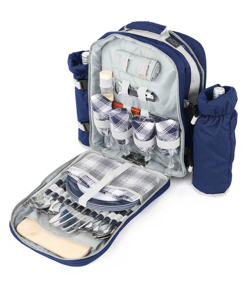 open picnic backpack with built-in amenities