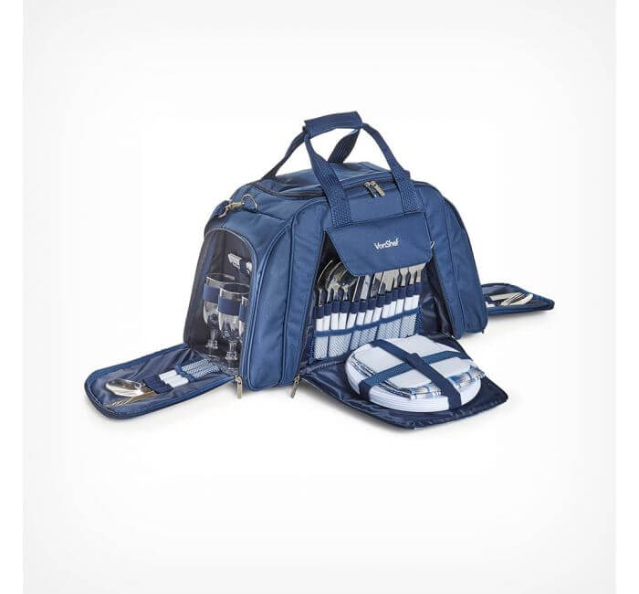 blue picnic holdall with cutlery and glasses built in