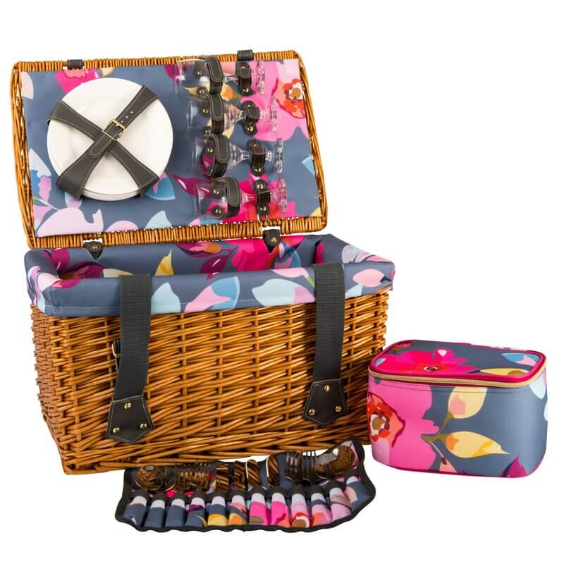 floral picnic basket with leather straps
