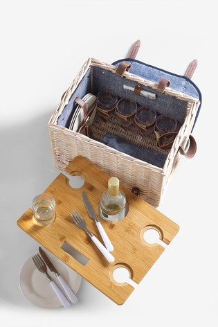 overhead shot of an open picnic basket with wooden tray
