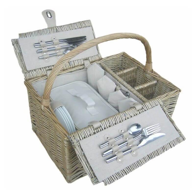 double lidded wicker picnic basket