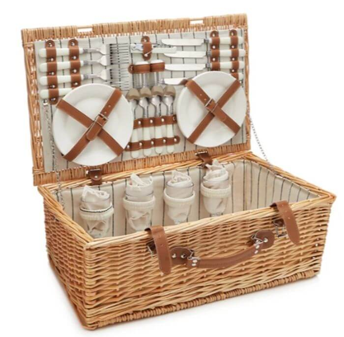 open picnic basket hamper with leather straps
