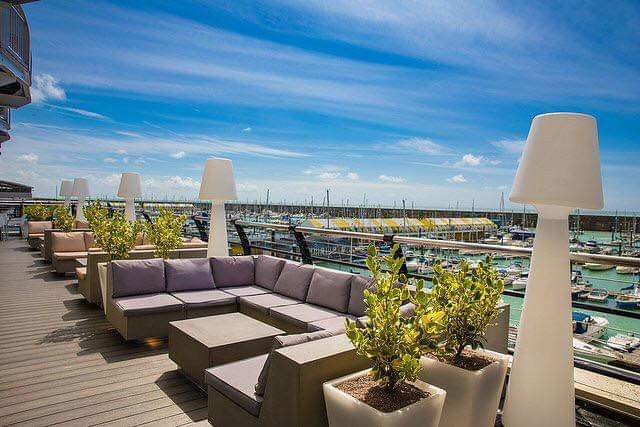 Sofas overlooking the Malmaison Brighton, a wonderful place if you're looking for family holidays with teenagers