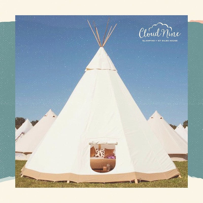 A teepee at Cloud Nine Glamping for family holidays with teenagers