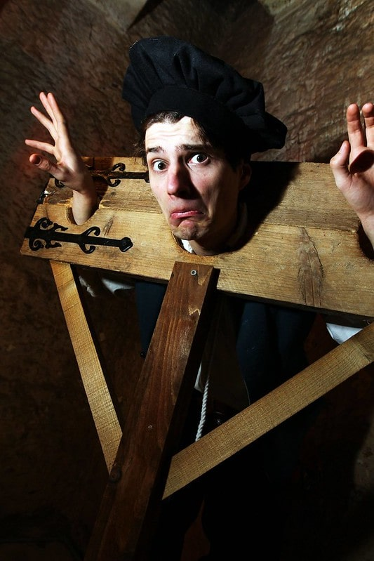 Demonstration of The Pillory as a Tudor punishment