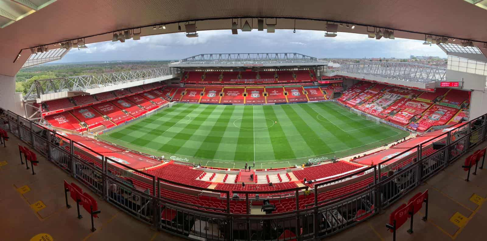 A view of Anfield Stadium from above.