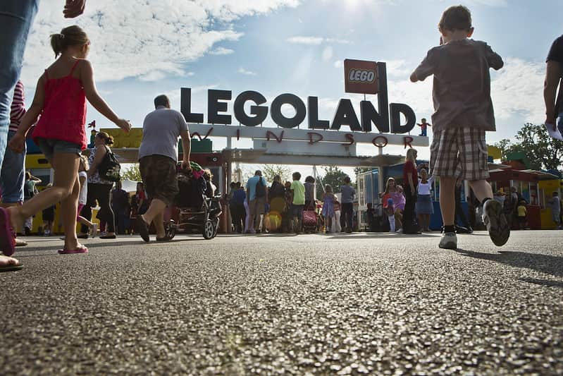 Families queuing up at the entrance to Legoland Windsor Resort.