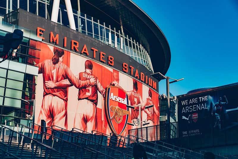 The exterior of the Emirates Stadium.