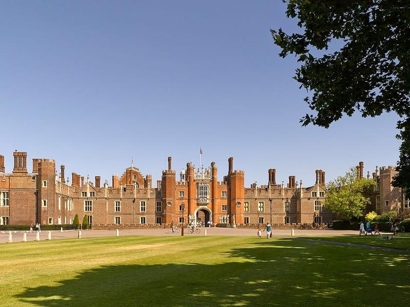 Hampton Court Palace on a sunny day.