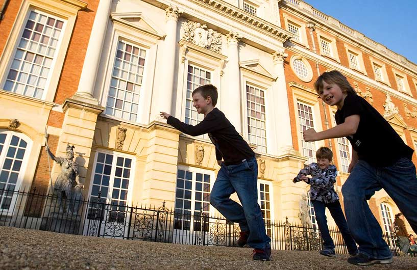Children running at Hampton Court Palace