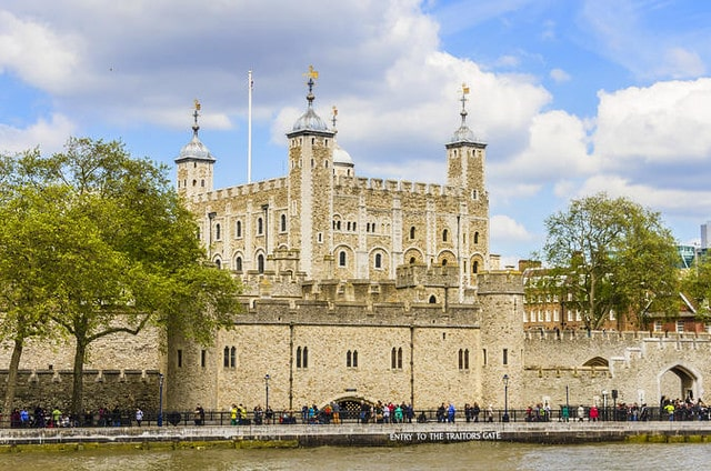 A view of the Tower of London from the River Thames.