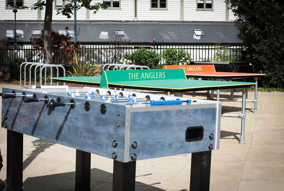 Outdoor table tennis and table football at The Anglers pub.