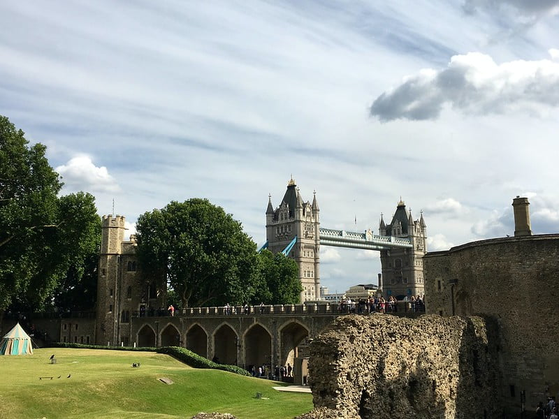 A view of Tower Bridge from the Tower of London.