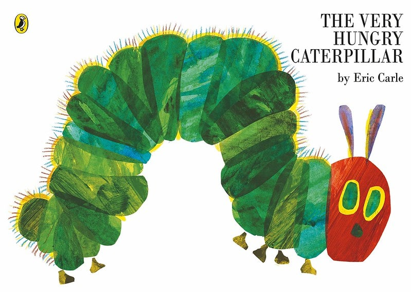 The Very Hungry Caterpillar by Eric Carle book cover.