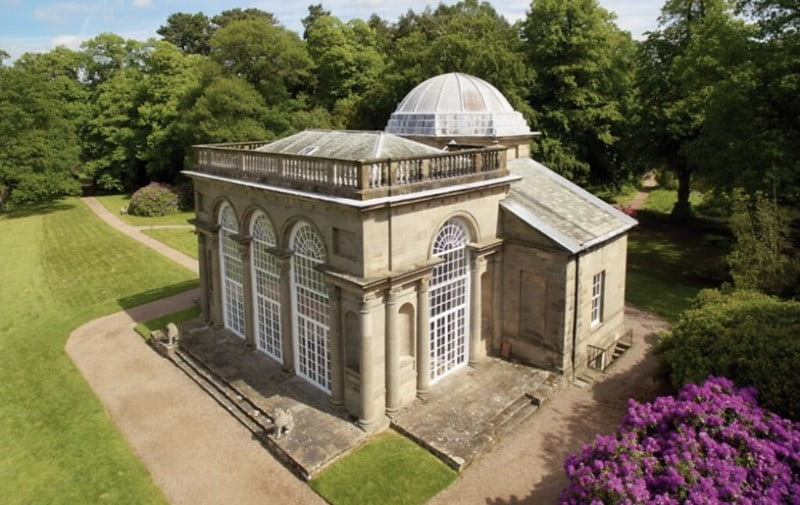 Classical architecture and domed roof at Temple of Diana, Shropshire.