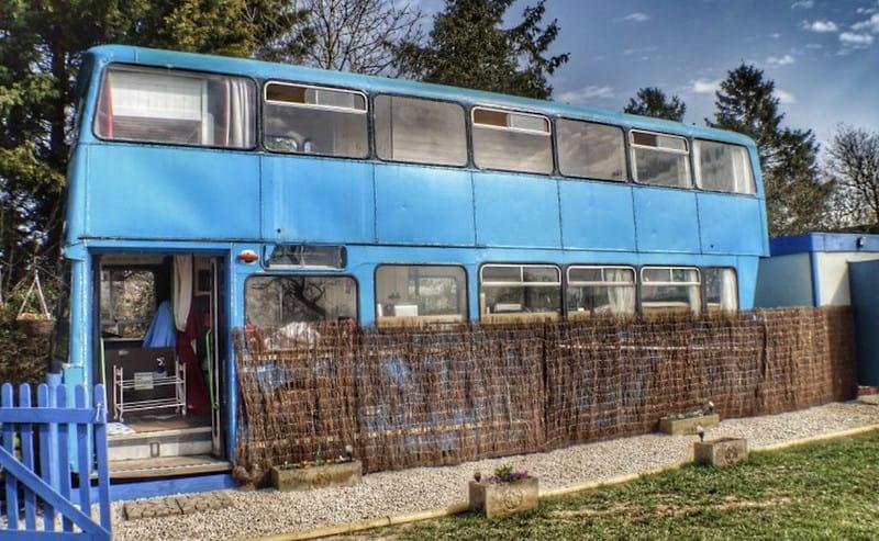 Converted retro double-decker bus at Pigeon Door, Ryton.