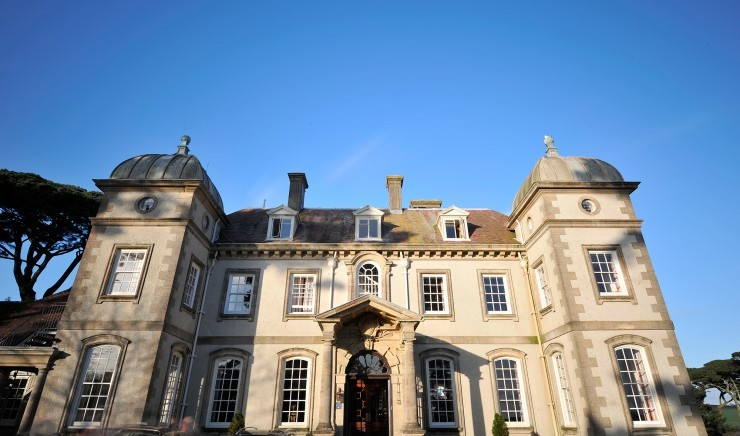 Grand facade at Fowey Hall Hotel.