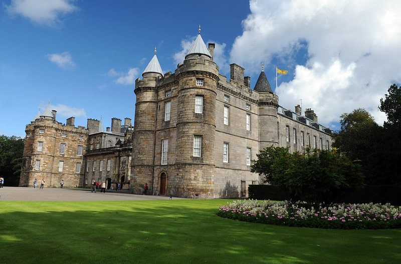 A front view of the Palace of Holyroodhouse in Edinburgh.