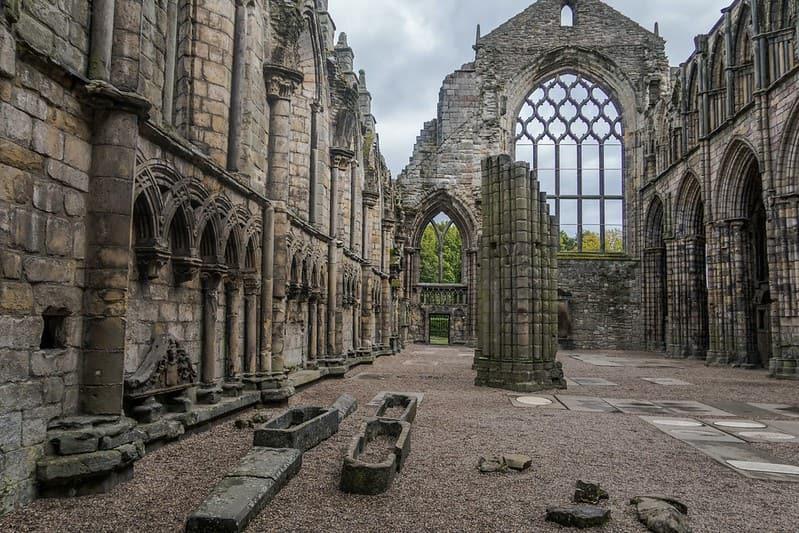 Ruins at the Holyrood Palace in Edinburgh.