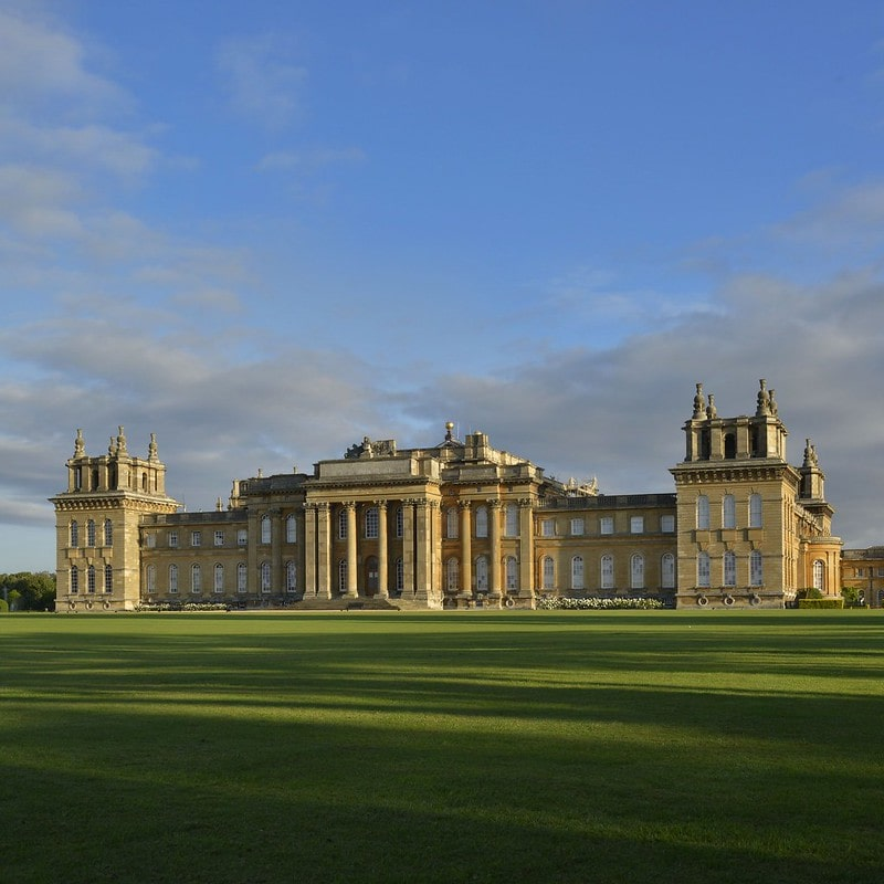 The exterior of Blenheim Palace on a beautiful sunny day.