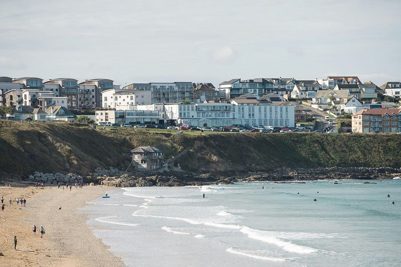 View of the beach from Esplanade Hotel, Cornwall.