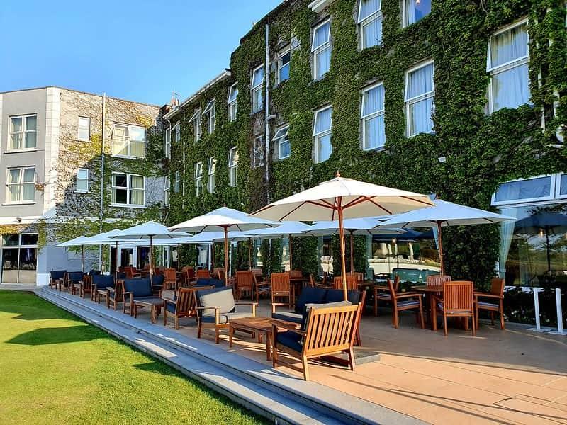 Outdoor restaurant at Carlyon Bay Hotel, Cornwall.