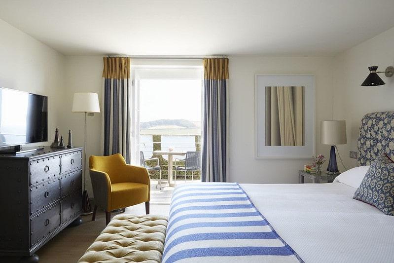 Seaside-themed decor in bedroom at Hotel Tresanton, Cornwall.