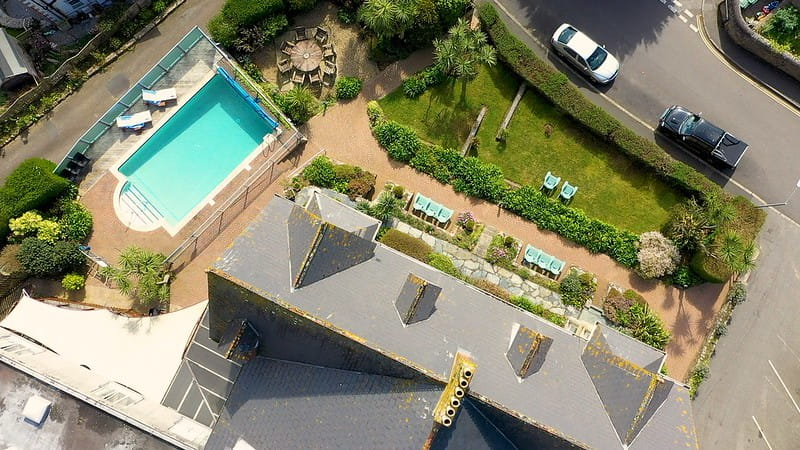 Birdseye view of the Hotel Penzance, Cornwall, and outdoor swimming pool.