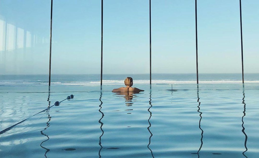 Infinity pool with a view overlooking the sea at Watergate Bay, Cornwall.